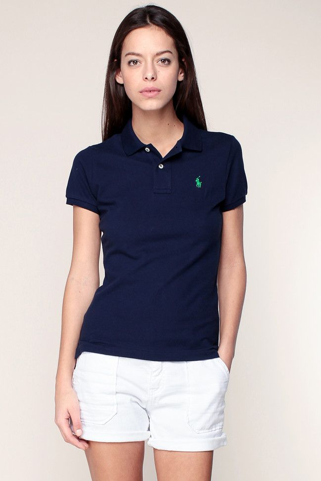 Polo manches courtes marine Ralph Lauren broderie logo pas cher prix Polo Femme Monshowroom 89.00 €