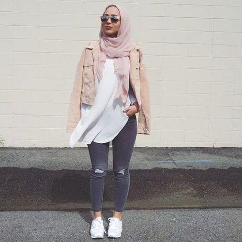 blush pink jacket casual hijab