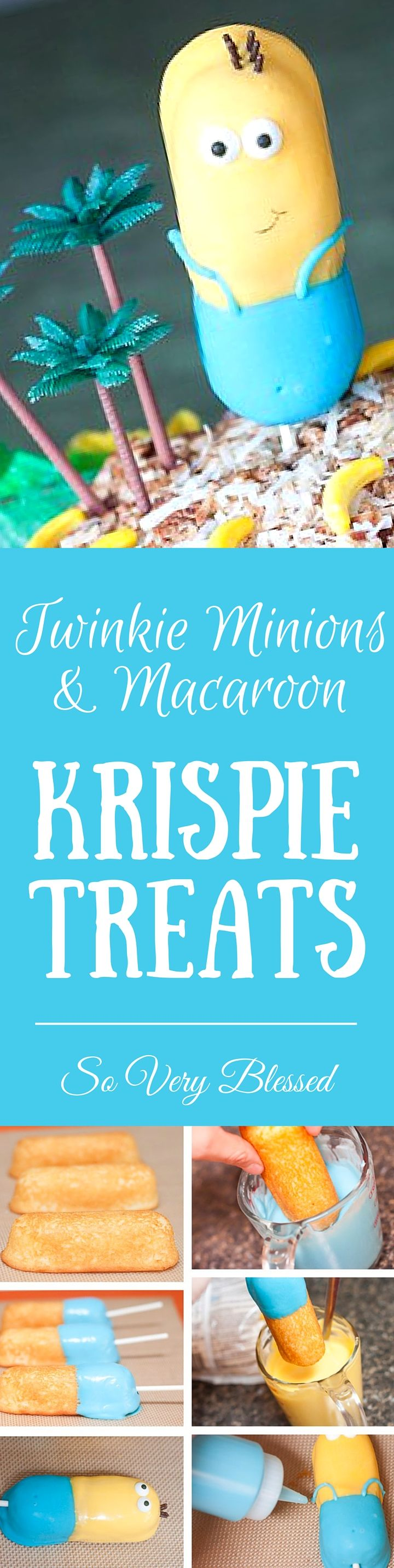 Twinkie Minions hanging out on a Macaroon Krispie Treat Minion Isle  | SoVeryBlessed.com  #minions #twinkierecipe