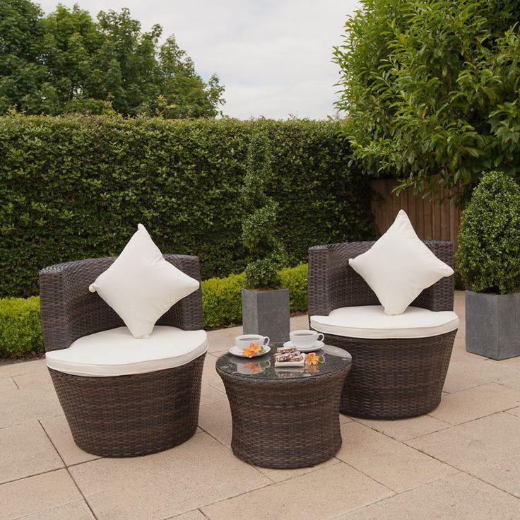 Garden Rattan Stacking SET Bistro 2 Chairs Round Vase