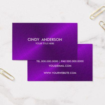 #Purple Brushed Metal Sheen Business Card - #elegant #gifts #stylish #giftideas #custom