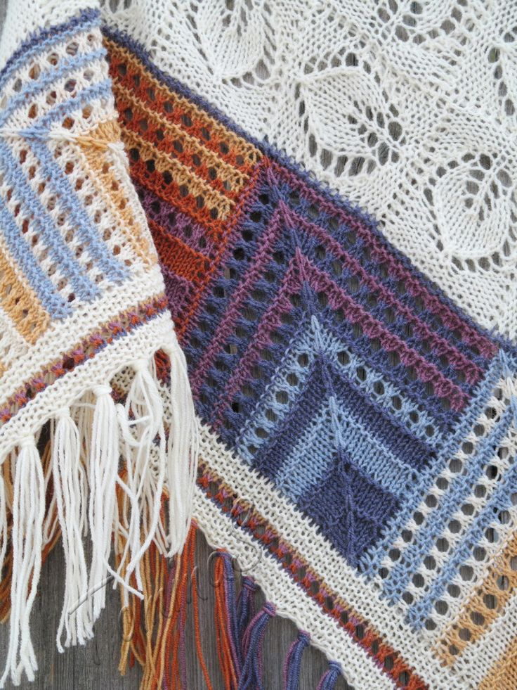 """Patches"" agate (knitted shawl, wrap, knitting lace, entrelac, modular shapes, granny squares, knitting patchwork)"