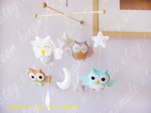 Baby Mobile - Owl Mobile - Nursery Mobile - Baby Shower Decor - Turquoise Gray White Tan Soft theme (You can Choose your colors)