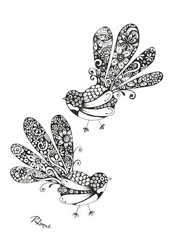 Fancy Fantails /  Kiwiana ink illustration by New Zealand Artist Robyn Lamont