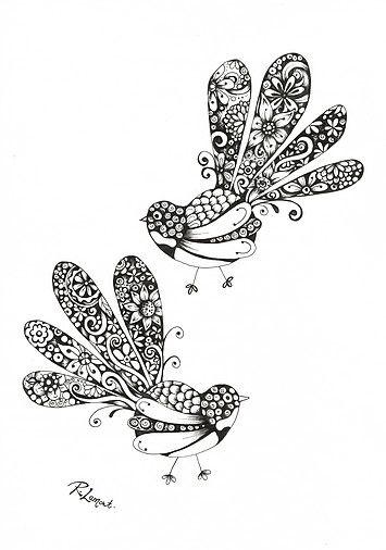 Fancy Fantails / Kiwiana ink illustration by New Zealand Artist Robyn Lamont