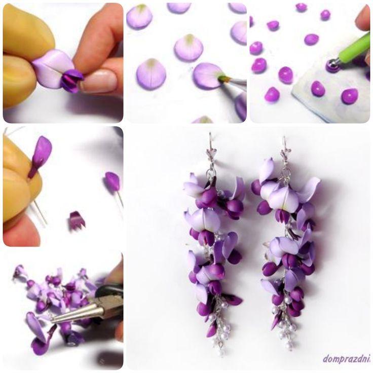 Wie man Wisteria Flower Ohrringe aus Fimo macht