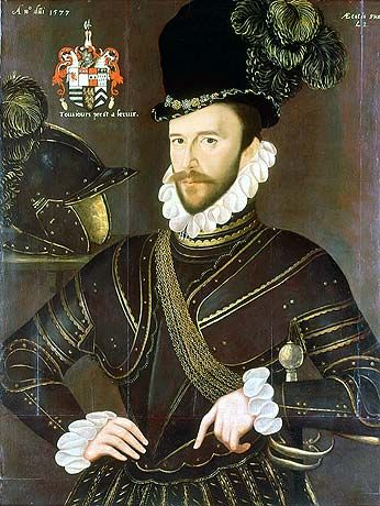 Portrait of Richard Drake (1535-1603), by John Gower (English, 1540-1596) ~ 1577 ~ National Maritime Museum, Greenwich ~ Drake , was Equerry of the Stable and Groom of the Privy Chamber to Queen Elizabeth I. He also held office as a Member of Parliament and Justice of the Peace. Drake served as factor and prize agent to Sir Francis Drake (to whom he may have been distantly related)