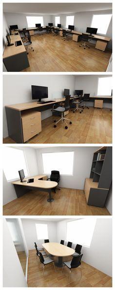 Propuesta de mobiliario para oficina que consta de espacios compartidos, sala de reuniones y oficina privada. Los muebles son de línea, con cubierta laminada abedul y cuerpos gris que otorgan calidez a los espacios.