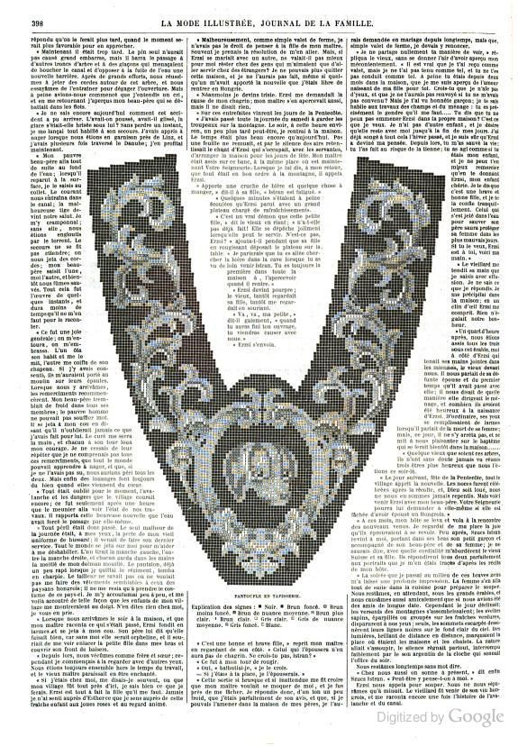 1863, La Mode Illustree. Needlepoint slipper pattern.