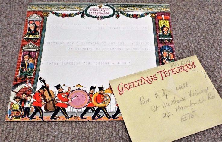 Vintage 1956 GPO Greetings Telegram & Envelope - Fritz Wegner