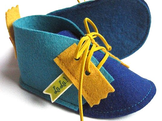 baby shoes in colorful felt