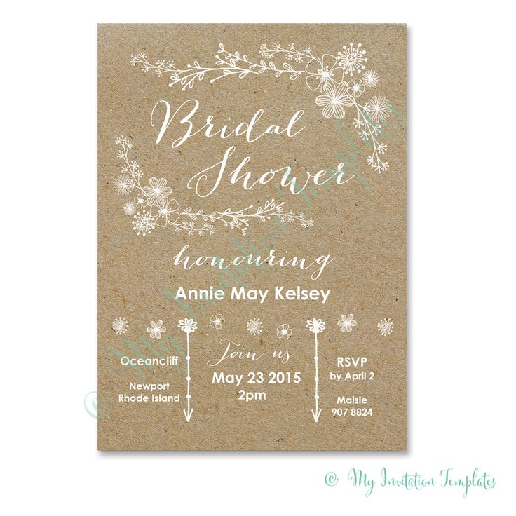 "DIY bridal shower invitation - Whimsical Rustic Bridal Shower Invitation template - DIY ""kraft"" Shower Invitations template with a white flower design. Includes E invitation & Free sample"