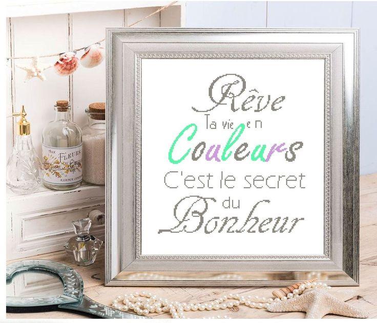 Fiche de broderie au point de croix : Rêve ta vie en couleurs : Broderie par broderiesab