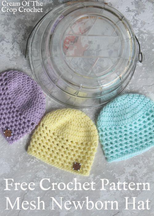 Mesh Newborn Hat Crochet Pattern | Cream Of The Crop Crochet