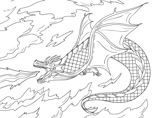 Free printable fire-breathing dragon coloring page ...