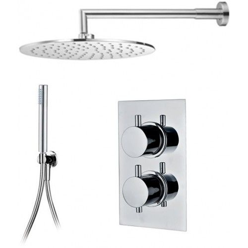 ER04 Emotion Thermostatic Round Shower & Square Fixed Head with Handshower Consists of 2 Outlet Round Handle Thermostatic Mixer + 250mm Round Shower Head + Round Wall Arm + Handshower Holder & Hose