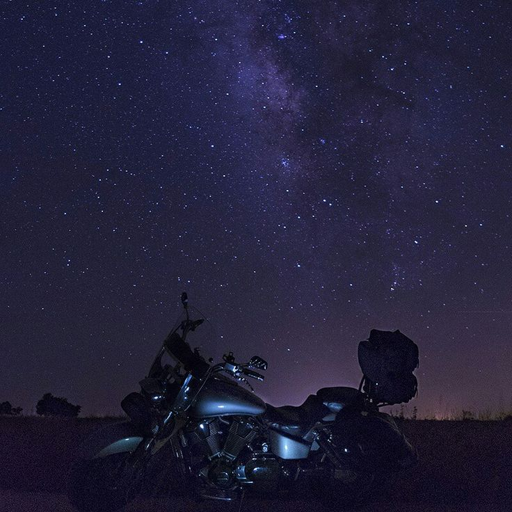 Motorcycle with Milky Way