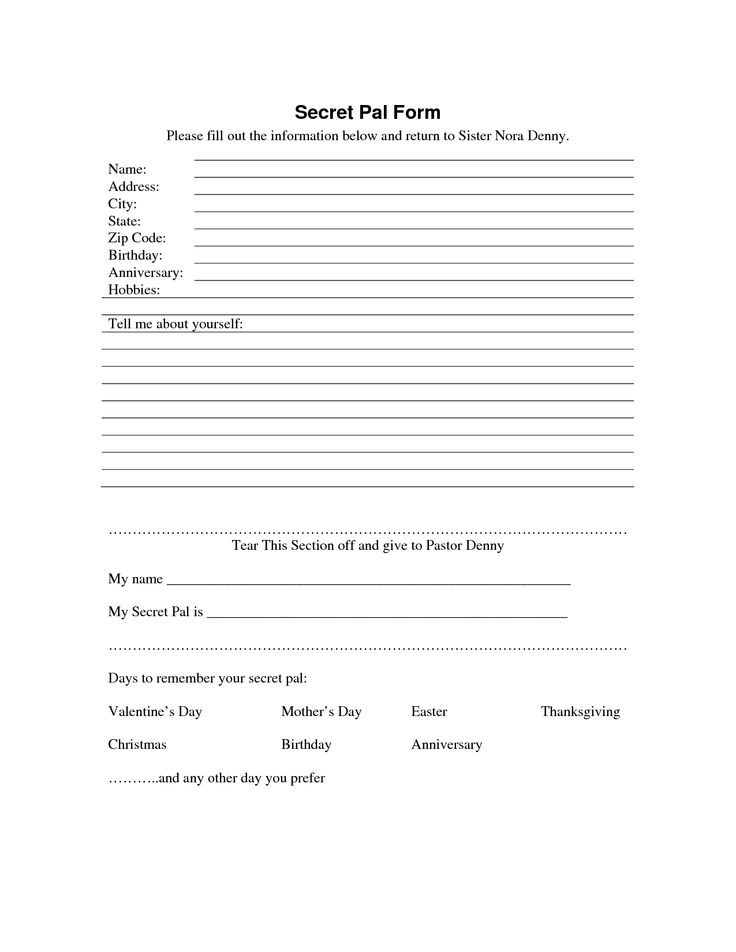secret sister questionnaire | Secret Pal Form - Download as PDF