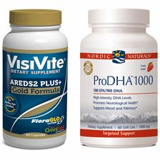 VisiVite AREDS2 Gold and Nordic Naturals ProDHA 1000 Bundle - 1 month supply. Sale Price: $54.95
