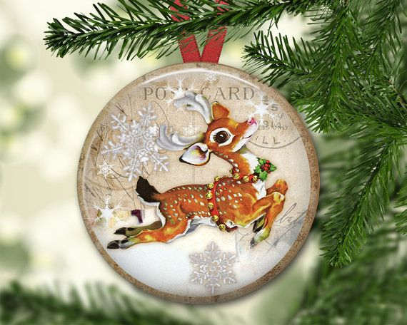 Old fashioned Christmas ornaments for tree - Christmas reindeer decorations - Christmas kitchen decor - holiday magnet for kitchen - MA-1340