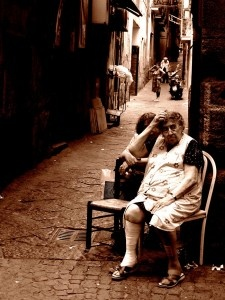 Old Italy. Italians love putting a chair on the street and watch life...love it