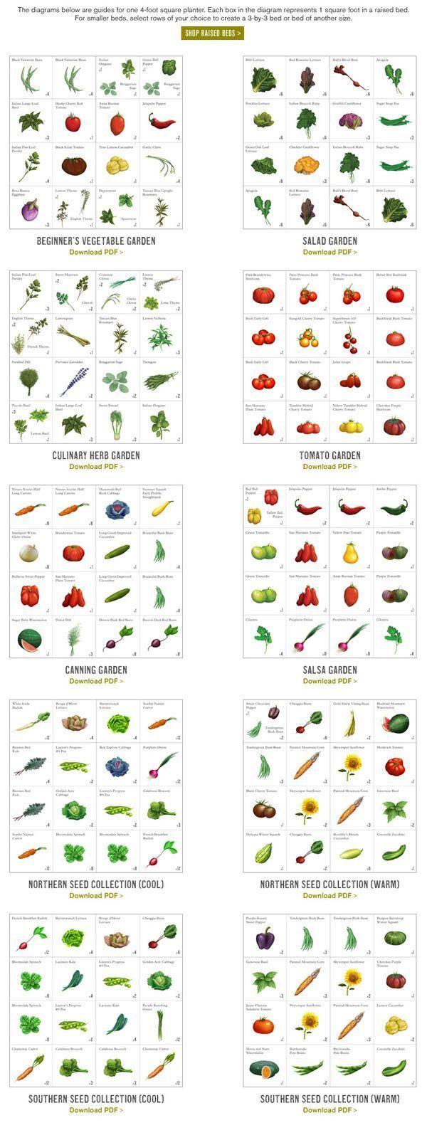 Intensive vegetable garden plans - These Great Printable Layouts Will Help Anyone Plan Their Garden Beds Well