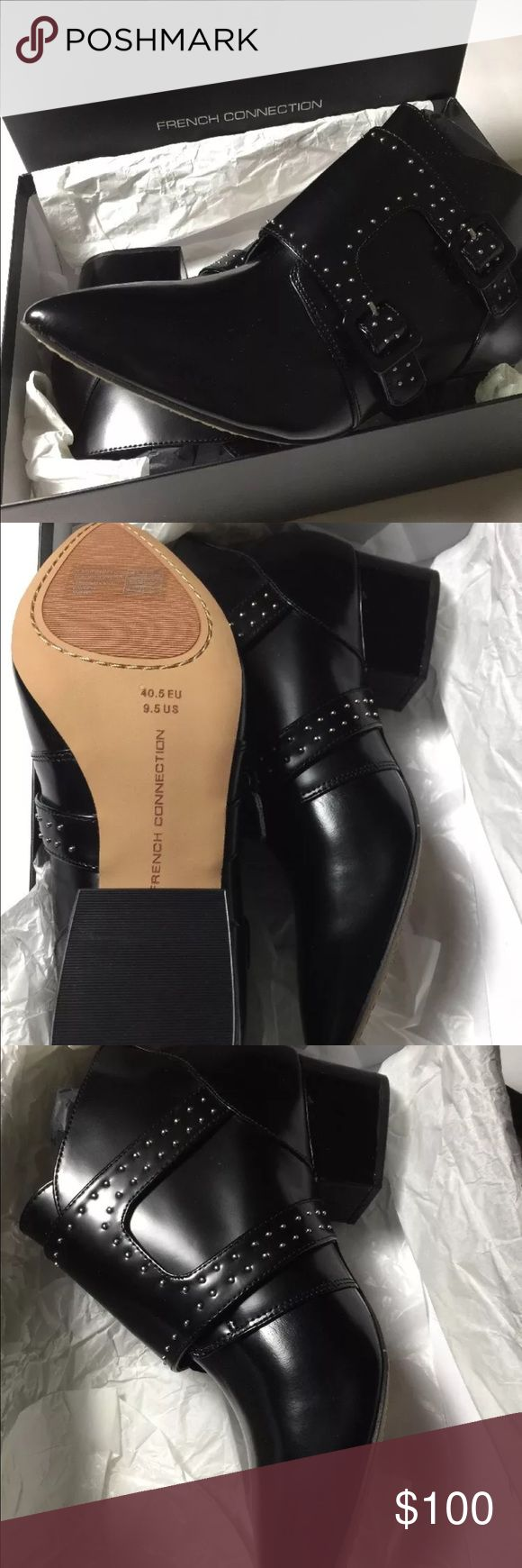 NIB French Connection Roree double monkstrap Brand new in the box French Connection Roree black ankle booties. Size 9.5 eu size 40.5 French Connection Shoes Ankle Boots & Booties