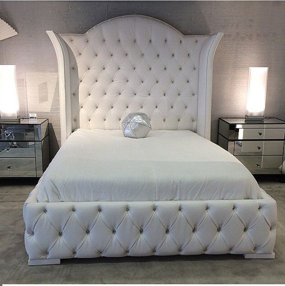 luxurious wingback tufted bed with rhinestones