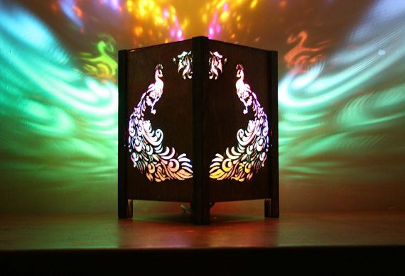 Colourful Peacock  Table lamp  Bespoke One by Amberlightsdesigns