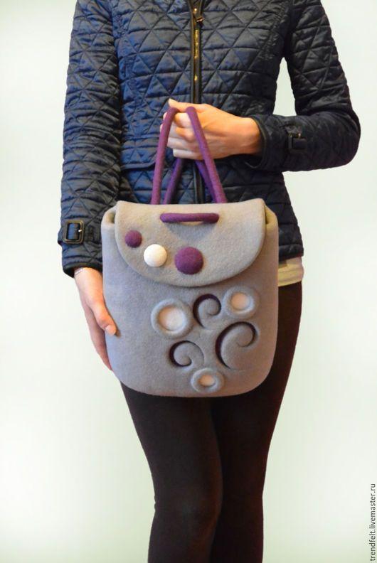 Валяный рюкзак с зимним узором. Очень притягательное классическое сочетание серого и фиолетового. / Felted rucksack, felt backpack. Felt in fashion by #olafelt