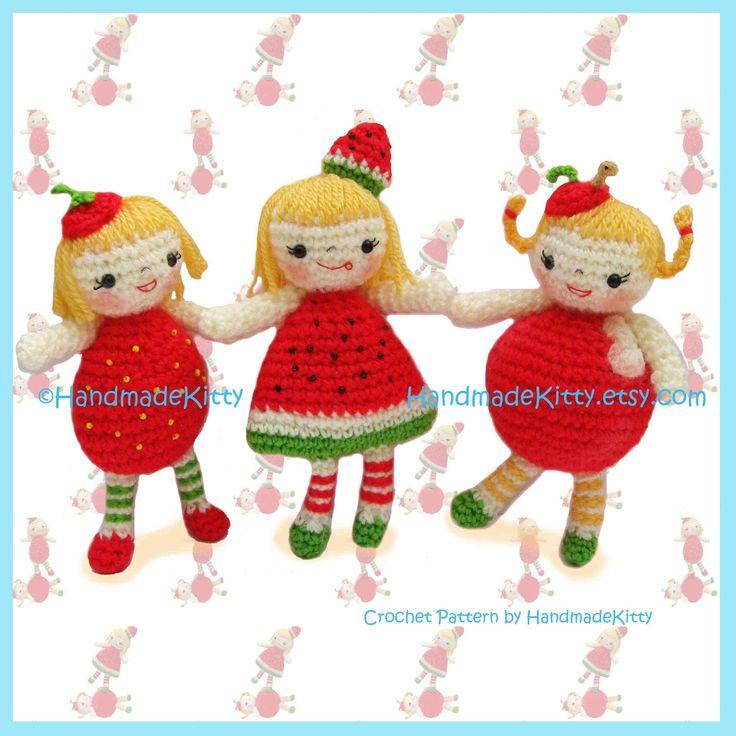 Yummy Strawberry Watermelon & Apple Girls от handmadekitty на Etsy