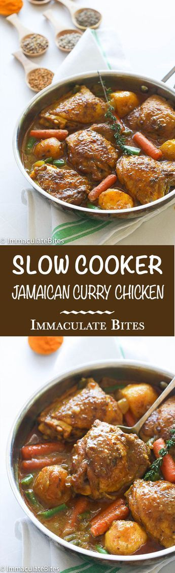 Jamaican Curry Chicken.Chicken thighs seasoned and cook in thick, flavorful creamy gravy of aromatic spices & vegetables- A One Pot meal right in your slow cooker