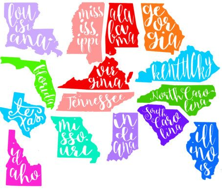 Cursive State Decal by VictoriasMonograms on Etsy