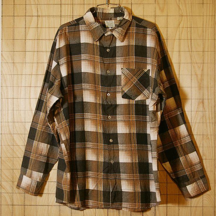 【Sears】80s古着ブラウン(茶)×オレンジコットン100%チェックシャツ|サイズXL|ビッグサイズ