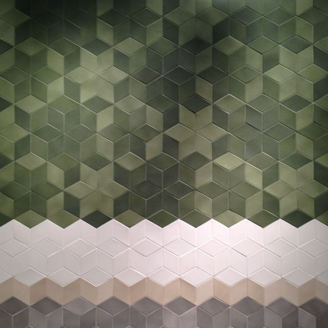 Hexagon tiles at the Salone del Mobile Milan. #design #tile #geometric #wall #color #interiordesign #pattern