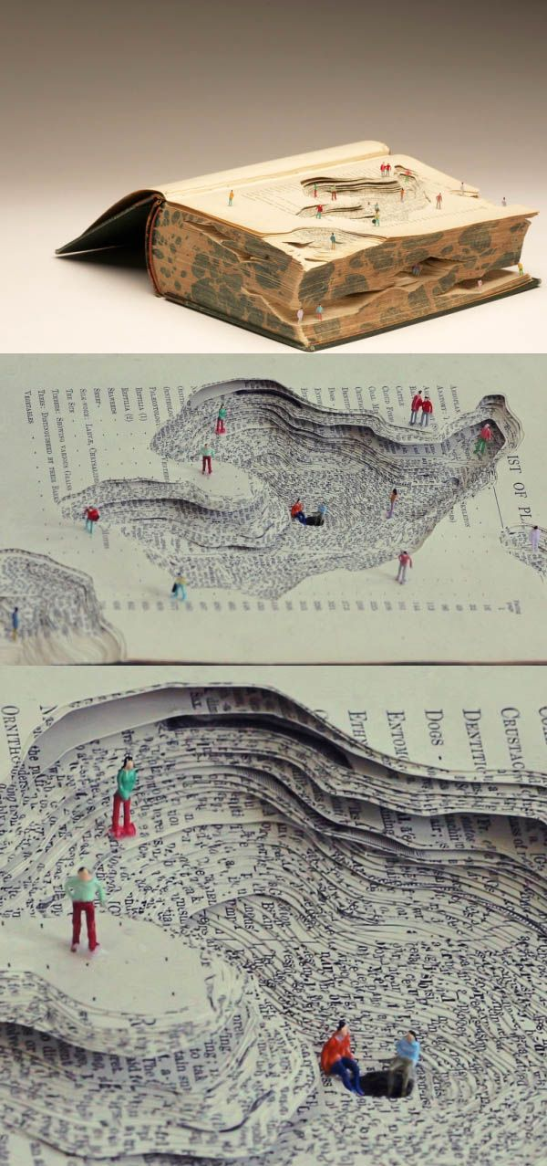 This book sculpture created geological changes, each pages of the book shows the depth on the surface of the earth. Next to some of the figures are chatting. Maybe they are geologists.