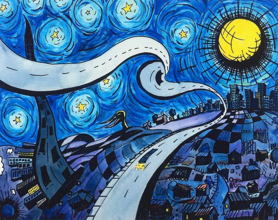 """""""My Starry Night"""" - Late 2007 Painting by Justin Vining inspired by Van Gogh's Starry Night.. $20.00"""
