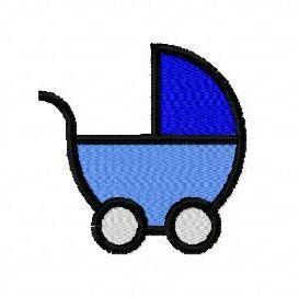 Baby pram stroller machine embroidery design 4 inch instant