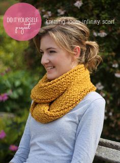 Tutorial on using a knitting loom to make an infinity scarf. My brother or sister in law project. :)