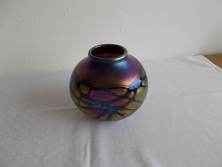 Vase Phoenician Glass Malta siegniert 1989 super Zustand !! h 14cm
