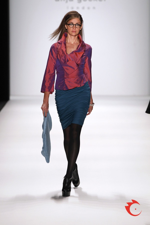anja gockel - shimmery redish silk blouse with pencil skirt