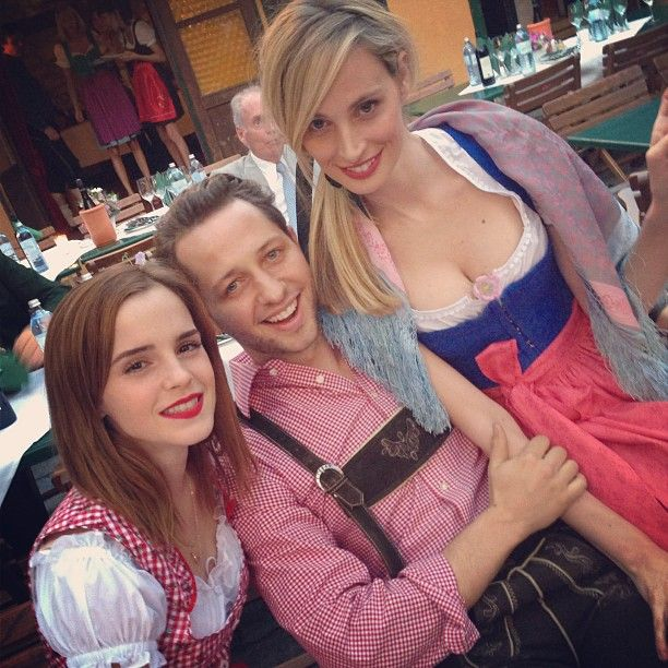 Emma with Derek Blasberg and Lauren Santo in the Caroline Sieber's Pre-Wedding Party.