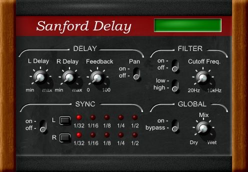 Sanford Delay free delay effect plug-in that is completely rewritten and is now available for 64-bit VST hosts on Windows. http://www.vstplanet.com/News/2015/Leslie-Sanford-updates-free-Sanford-Delay-to-v2.7.htm