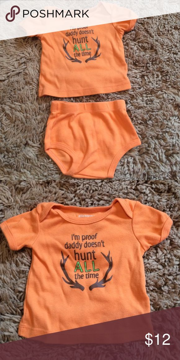 "Hunting T-Shirt + Diaper Cover Set for Babies Bright orange soft t-shirt featuring the phrase ""I'm Proof Daddy Doesn't Hunt ALL the Time"" and antlers and matching diaper cover for boys by Ellemenno. Ellemenno Matching Sets"