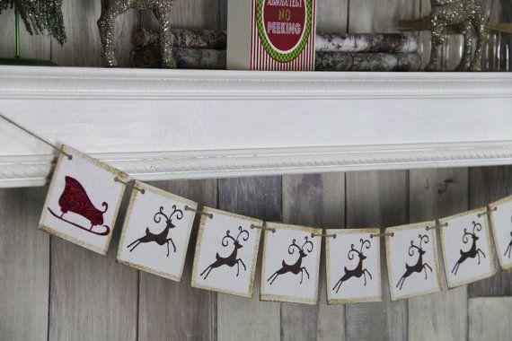 CHRISTMAS DECORATION Reindeer and Sleigh by WeddingBannerLove