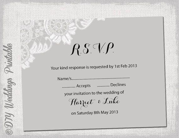 Wedding RSVP template download DIY Silver by diyweddingsprintable