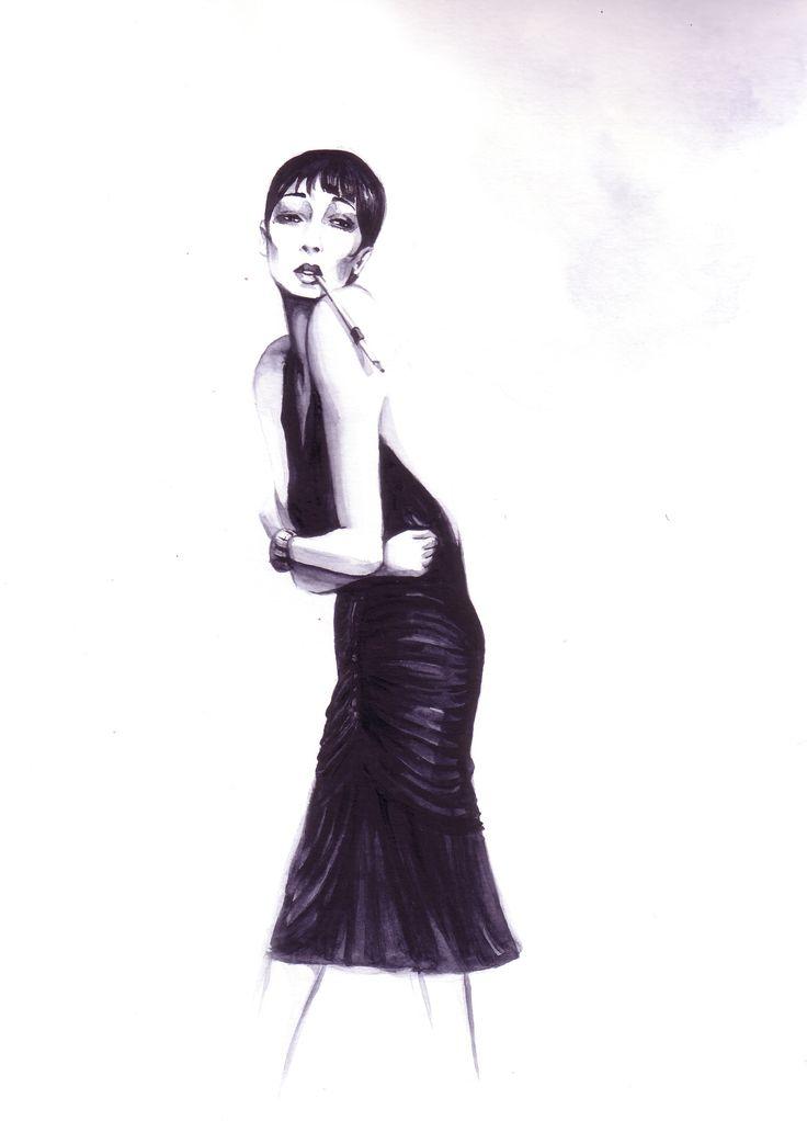 Figurin moda. Estilo años 20. vestido negro. Acuarela