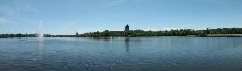 View of Saskatchewan Parliament building from across Wascana Lake