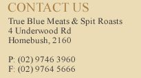 True Blue Meat and Spit Roast Catering | Book the best spit roast in Sydney, Australia with a Combination Spitroast of Yearling roast beef, pork with crackling and mustard, roast lamb with apple and mint sauce.