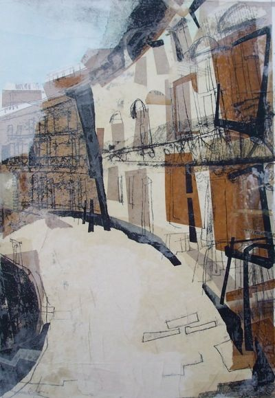 New Town Crescent, Edinburgh Collage with Monoprint Lucy Jones www.lucyjonesart.com